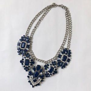 Jewelry - Silver and Blue Gem Bib Costume Jewelry Necklace